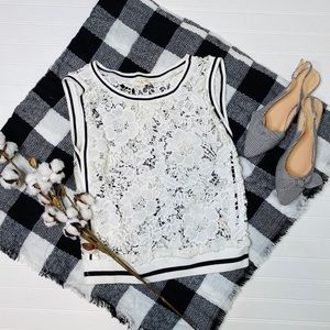 Tea & Cup White Black Sheer Lace Top